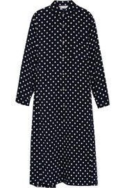 Polka-dot poplin midi dress