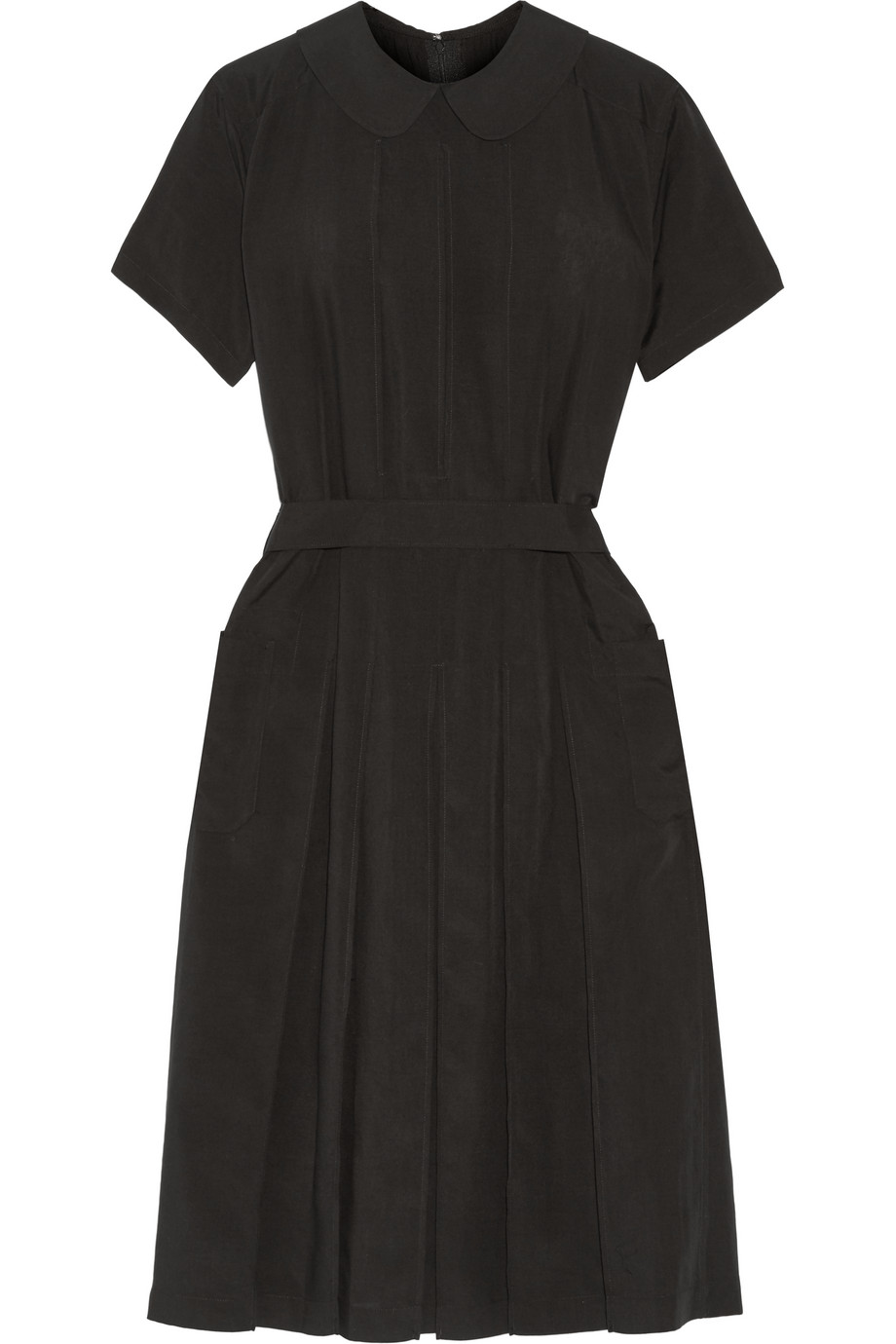 Pleated Poplin Midi Dress, Black, Women's