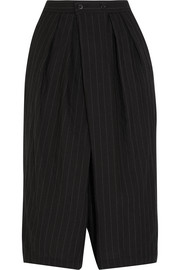 Pinstriped cropped wool-blend wide-leg pants