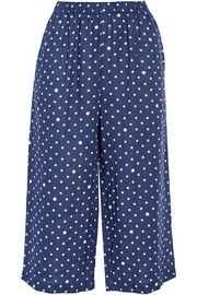 Polka-dot linen wide-leg pants