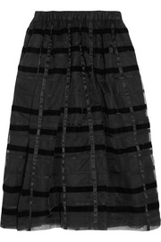 Striped velvet and organza midi skirt