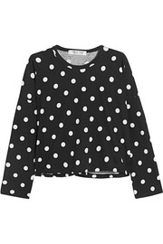 Cropped polka-dot cotton-jersey top