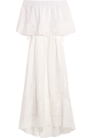 Carmen off-the-shoulder embroidered cotton and silk-blend maxi dress