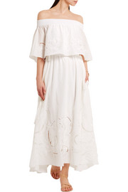 Tibi Carmen off-the-shoulder embroidered cotton and silk-blend maxi dress