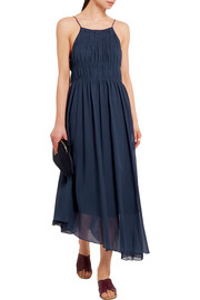 Tibi Smocked cotton and silk-blend crepon maxi dress