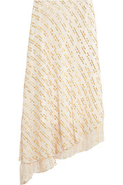 Asymmetric metallic fil coupé silk-blend midi skirt