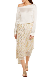 Tibi Asymmetric metallic fil coupé silk-blend midi skirt