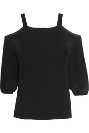Tibi Cutout silk-satin top