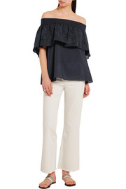 Carmen off-the-shoulder embroidered cotton and silk-blend top