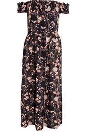Lydia off-the-shoulder floral-print silk dress