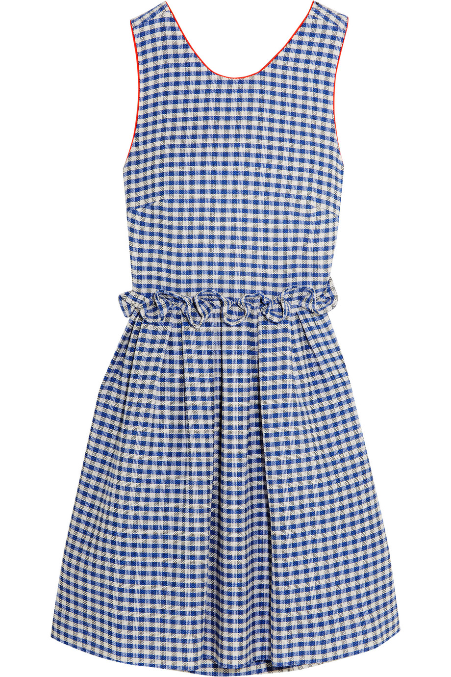 Mother of Pearl Lola Ruffled Gingham Cotton Dress, Blue, Women's, Size: 10