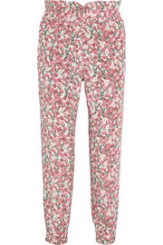 Rita floral-print silk-satin tapered pants