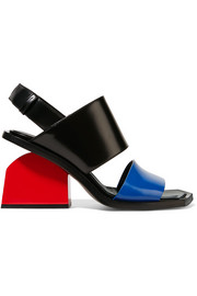 Color-block glossed-leather slingback sandals