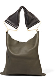 Maxi Strap textured-leather shoulder bag