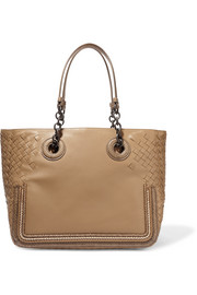 Watersnake-trimmed intrecciato leather tote