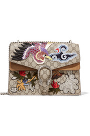 Dionysus medium appliquéd coated canvas and suede shoulder bag