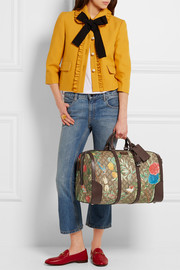 Gucci Linea A textured leather-trimmed printed coated canvas weekend bag