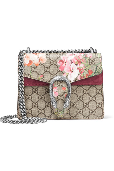 gucci female gucci dionysus mini printed coated canvas and suede shoulder bag beige
