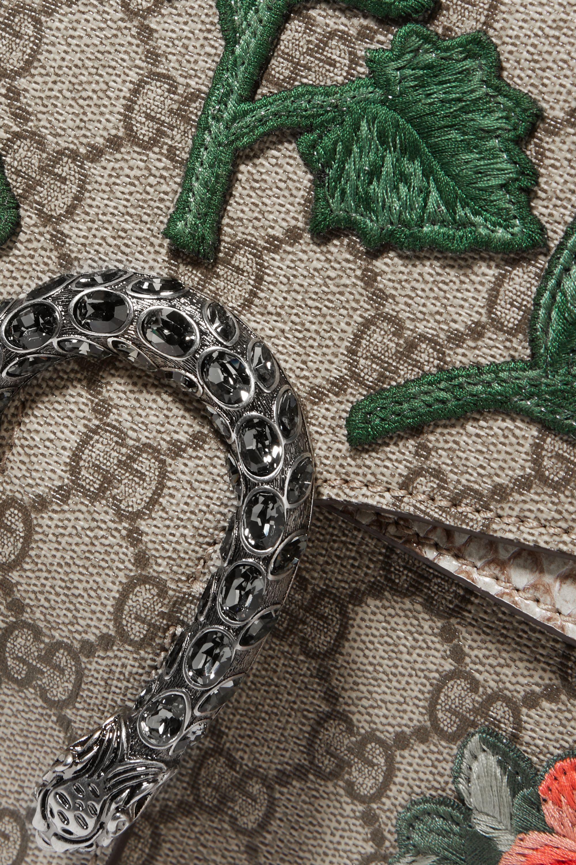 Gucci Dionysus mittelgroße Schultertasche aus beschichtetem Canvas und Pythonleder mit Applikationen