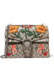 Dionysus medium appliquéd coated canvas and python shoulder bag