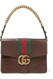 Gucci GG Marmont medium canvas-paneled leather shoulder bag