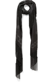 Alexander McQueen Chain-fringed wool and silk-blend jacquard scarf