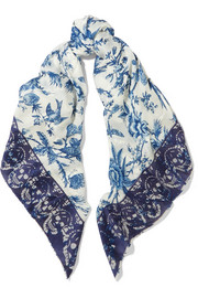 Reversible printed silk-blend and jacquard scarf