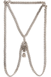 Silver-tone, Swarovski crystal and faux pearl body chain