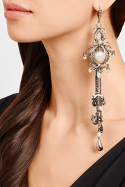 Alexander McQueen Silver-tone, Swarovski crystal and faux pearl earring