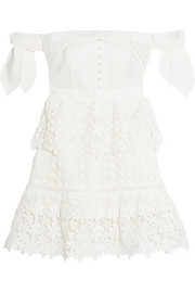 Off-the-shoulder guipure lace and twill mini dress