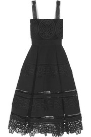 Guipure lace-paneled ponte midi dress