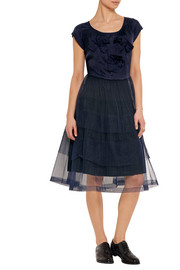 Bow-embellished taffeta and tulle dress
