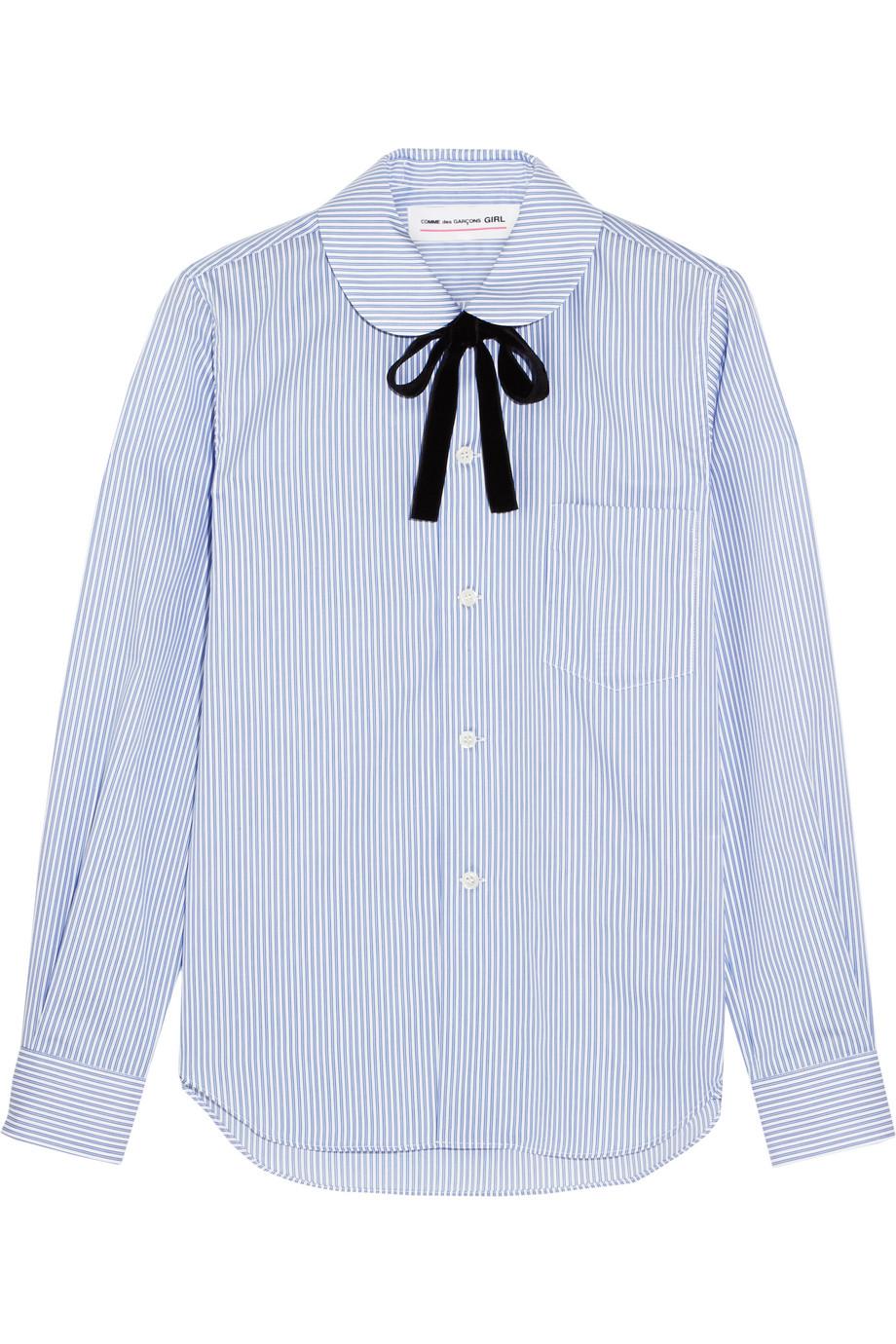Pussy-Bow Striped Cotton-Poplin Shirt, Blue, Women's