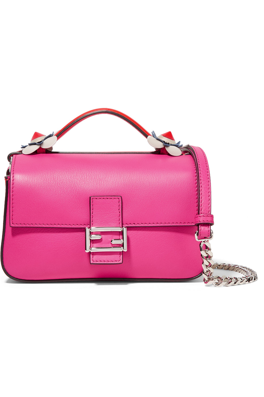 Fendi Double Baguette Micro Leather Shoulder Bag, Fuchsia, Women's