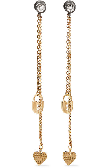 Lanvin - Gold-plated Swarovski Crystal Earrings - one size