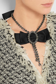 Lanvin Silver-plated pewter, Swarovski crystal and silk-satin necklace