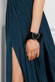 Lanvin Silver-plated pewter, Swarovski crystal and silk-satin cuff