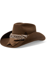 Lucky printed cotton-trimmed rabbit-felt fedora