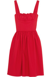 TITLE A Ruched stretch-cotton dress