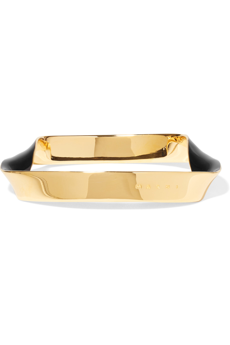 Marni Enameled Gold-Plated Bracelet, Black, Women's