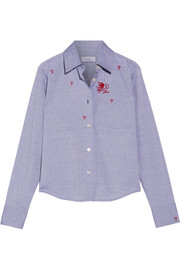 TITLE A Embroidered cotton-chambray shirt