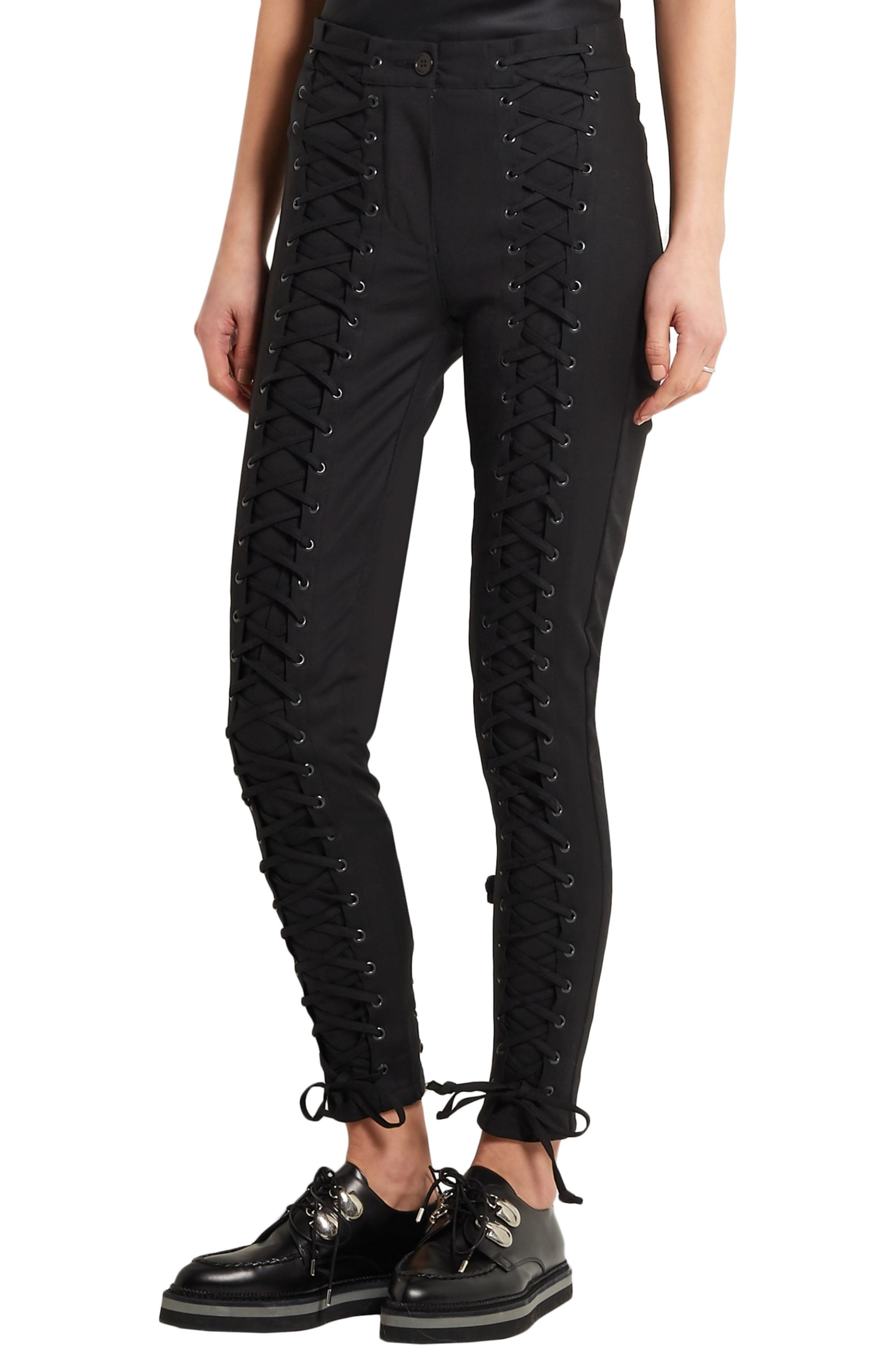 TITLE A Lace-up stretch-cotton skinny pants