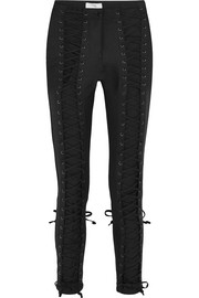 Lace-up stretch-cotton skinny pants