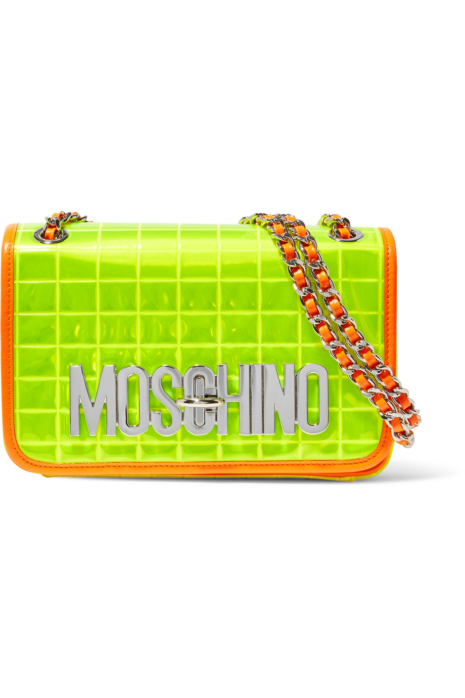 Moschino Faux Leather-Trimmed Quilted PVC Shoulder Bag, Bright Yellow, Women's