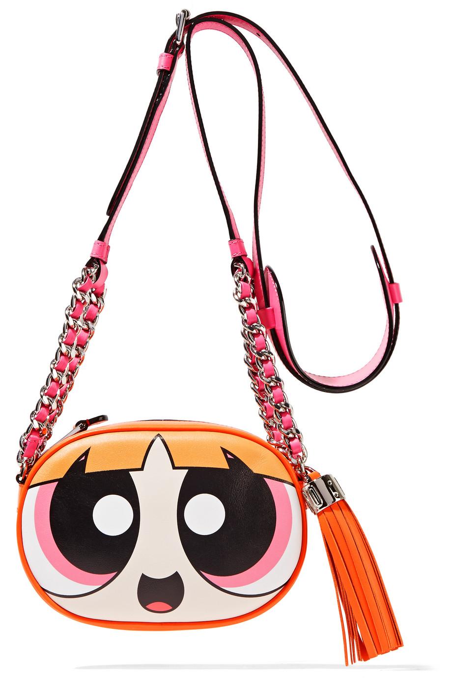 Moschino Leather Shoulder Bag, Fuchsia/Orange, Women's