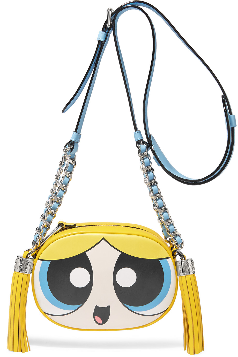 Moschino Tasseled Leather Shoulder Bag, Sky Blue/Yellow, Women's