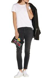 Moschino Tasseled printed leather clutch