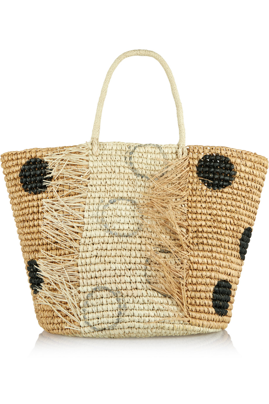 Sensi Studio Polka-Dot Woven Toquilla Straw Tote, Off-White, Women's, Size: One Size