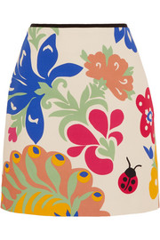 Victoria, Victoria Beckham Printed cotton-canvas mini skirt