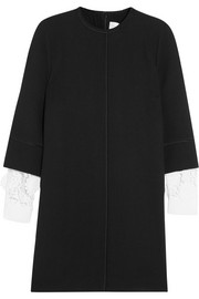Victoria, Victoria Beckham Guipure lace-trimmed wool-crepe mini dress